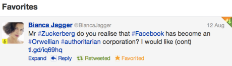 Bianca Jagger Aug 12 2012 about Facebook